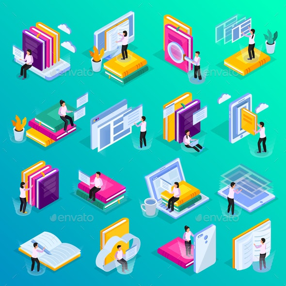 Online Education Isometric Icons - Computers Technology