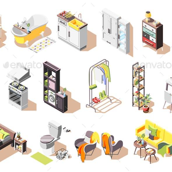 Isometric Loft Interior Icons