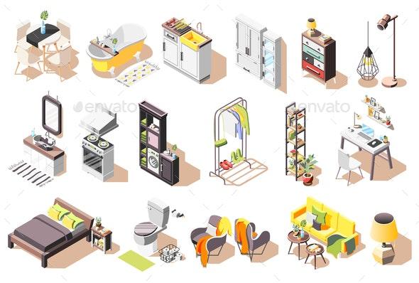 Isometric Loft Interior Icons - Miscellaneous Vectors
