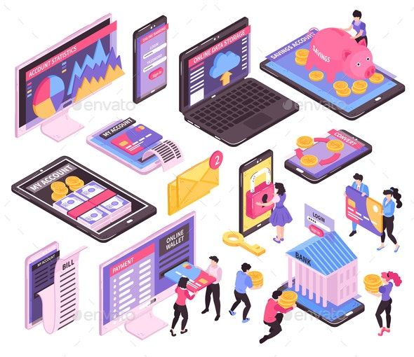 Online Banking Isometric Set - Industries Business