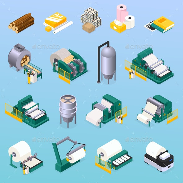 Paper Production Icons Set - Industries Business