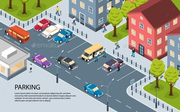 City Parking Isometric Poster - Miscellaneous Vectors