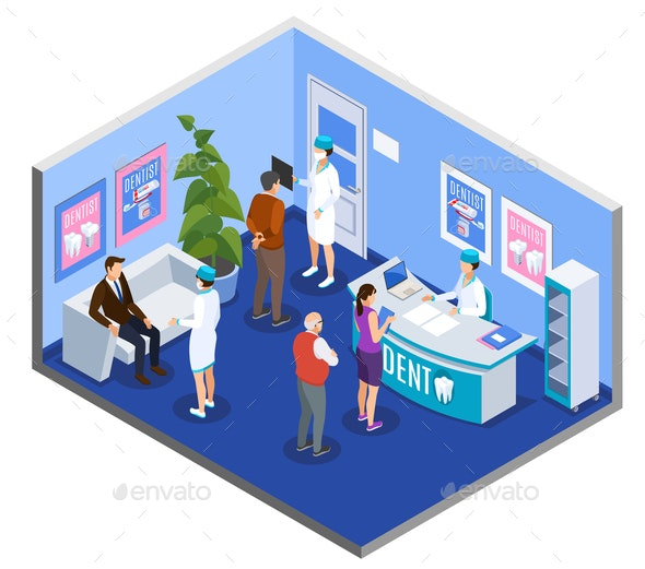 Dental Practice Isometric Composition - People Characters