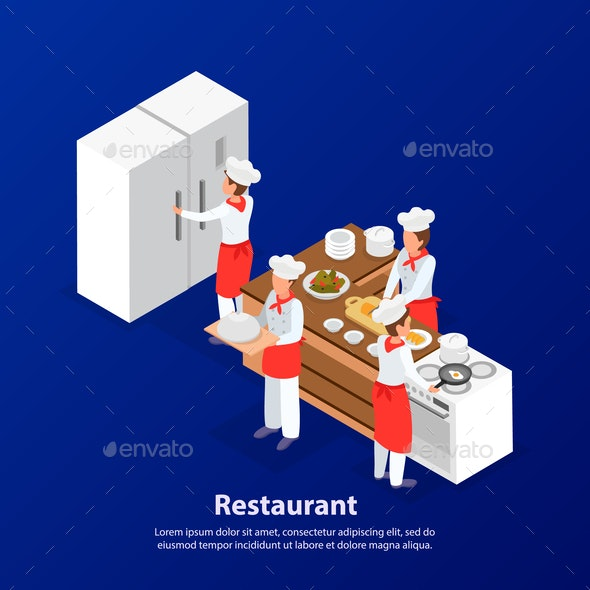 Cooking Isometric Background - Miscellaneous Vectors