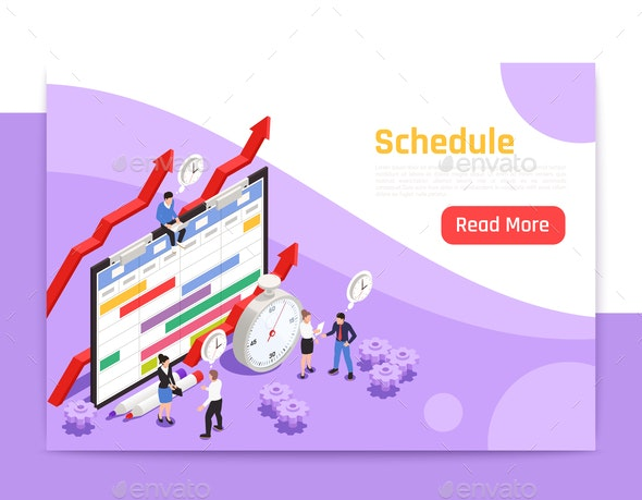 Time Management Isometric Landing Page - Miscellaneous Vectors