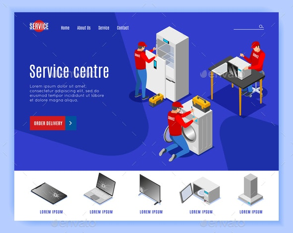 Service Center Isometric Website - Services Commercial / Shopping