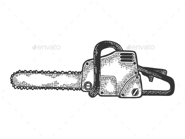 Chainsaw Tool Sketch Engraving Vector - Industries Business