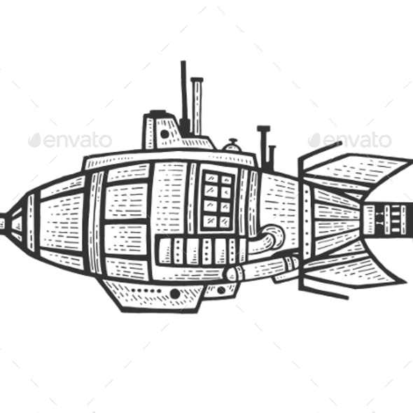 Bathyscaphe Engraving Vector