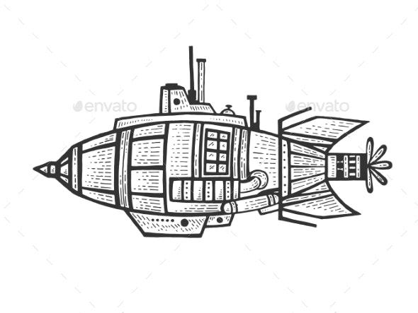Bathyscaphe Engraving Vector - Miscellaneous Vectors