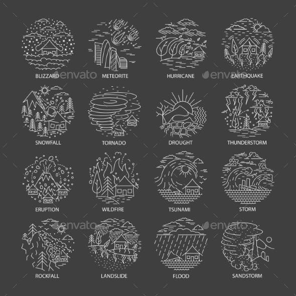 Natural Disaster Icons Collection
