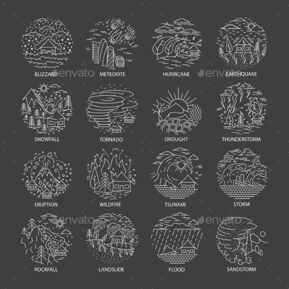 Natural Disaster Icons Collection - Flowers & Plants Nature