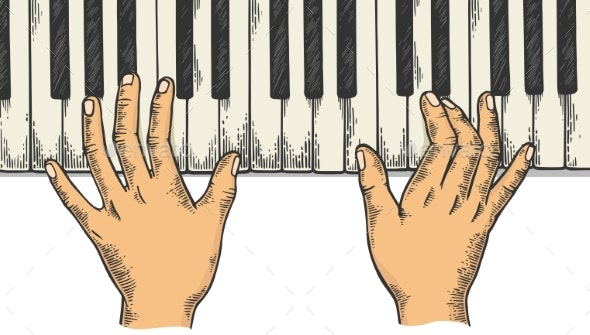Hands and Piano Engraving Vector Illustration - Miscellaneous Vectors