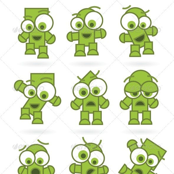 Funny Green Cartoons Characters Set