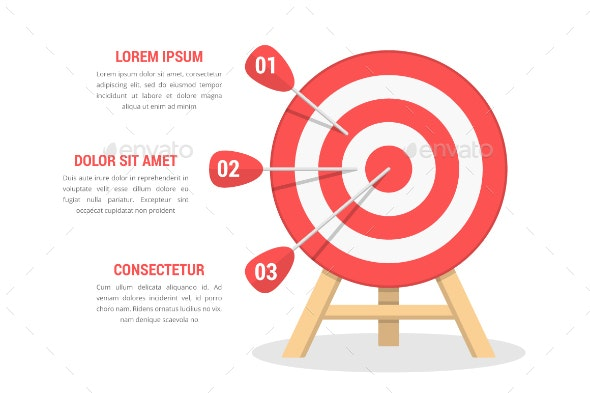 Target with 3 Arrows - Infographics