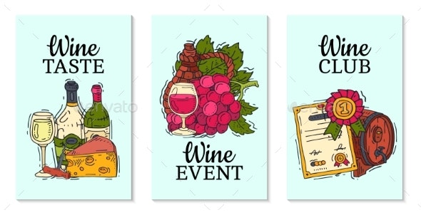 Wine Taste Club Cards Vector Illustrations Glass - Food Objects