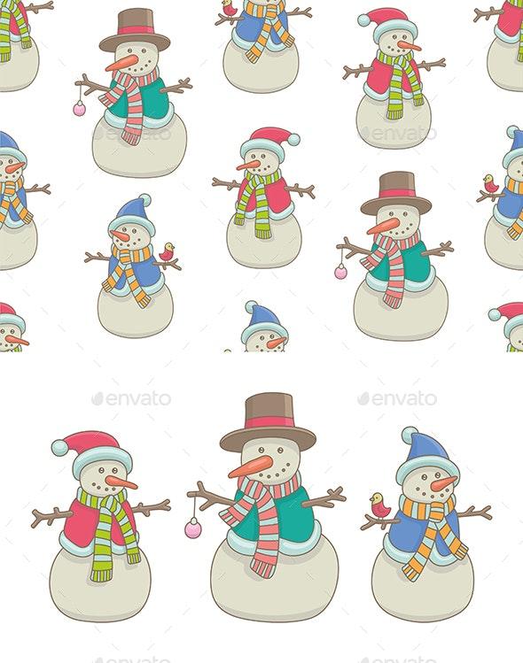 Set of Snowmen Pattern - Christmas Seasons/Holidays