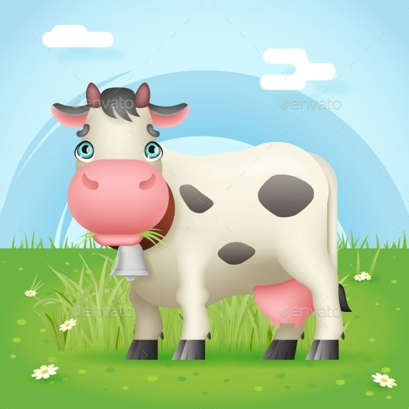 Cow Eat Grass - Animals Characters