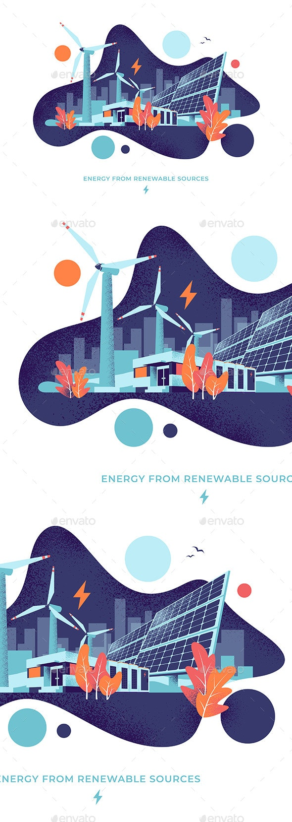 Solar and Wind Electric Power Plant Fluid Circle Style Illustration - Technology Conceptual