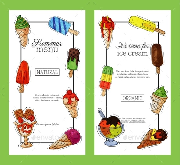 Ice Cream Banner Summer Natural Fresh and Cold - Food Objects