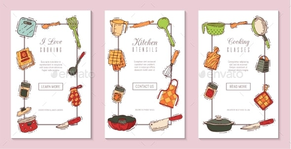 Cooking Classes Equipment Banner Vector - Food Objects