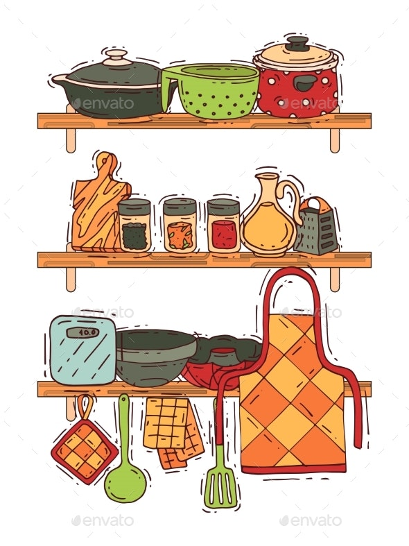 Cooking Shelf Equipment Vector Kitchenware - Food Objects
