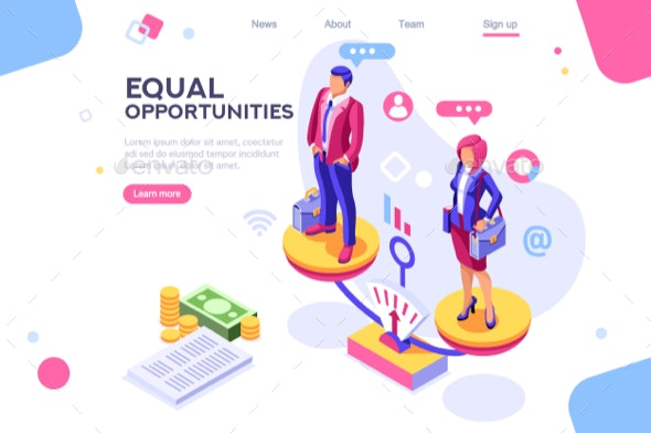 Business Equality Concept - People Characters