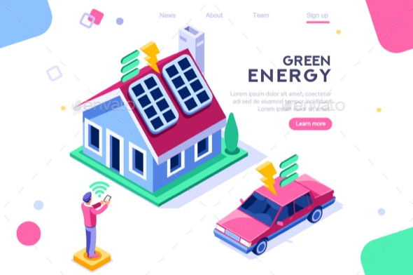 Digital Solar House Isometric - Miscellaneous Conceptual