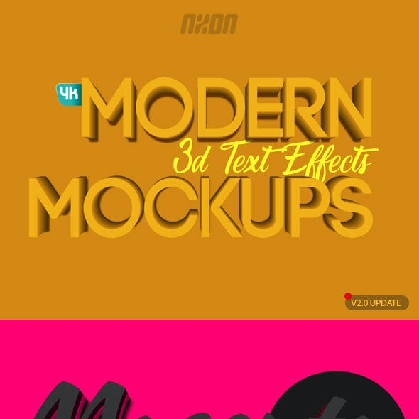 Modern 3D Text Effects Mockups