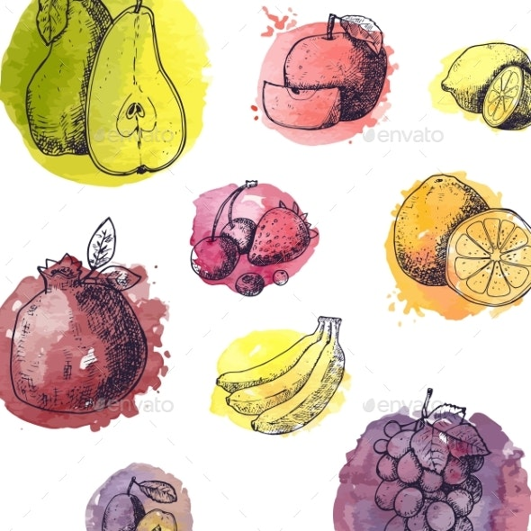 Seamless Pattern with Fruits in Hand Drawn Style - Backgrounds Decorative