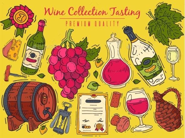 Wine Taste Club Premium Vector Illustrations Glass - Food Objects