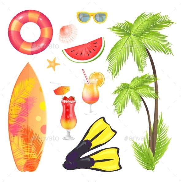 Palm Tree Surfing Board Set Vector Illustration - Food Objects