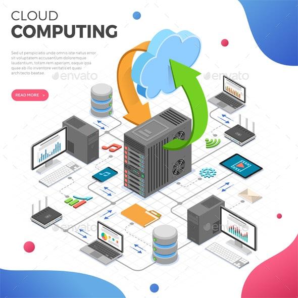 Data Network Cloud Computing Technology Isometric - Web Technology
