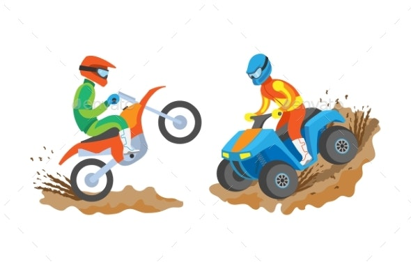 Man Riding Motorbike and Quad Bike Extreme Sports - Sports/Activity Conceptual
