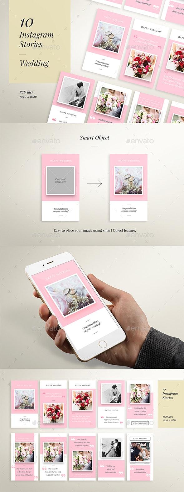 IG Story Wedding Wishes - 10 Templates - Social Media Web Elements