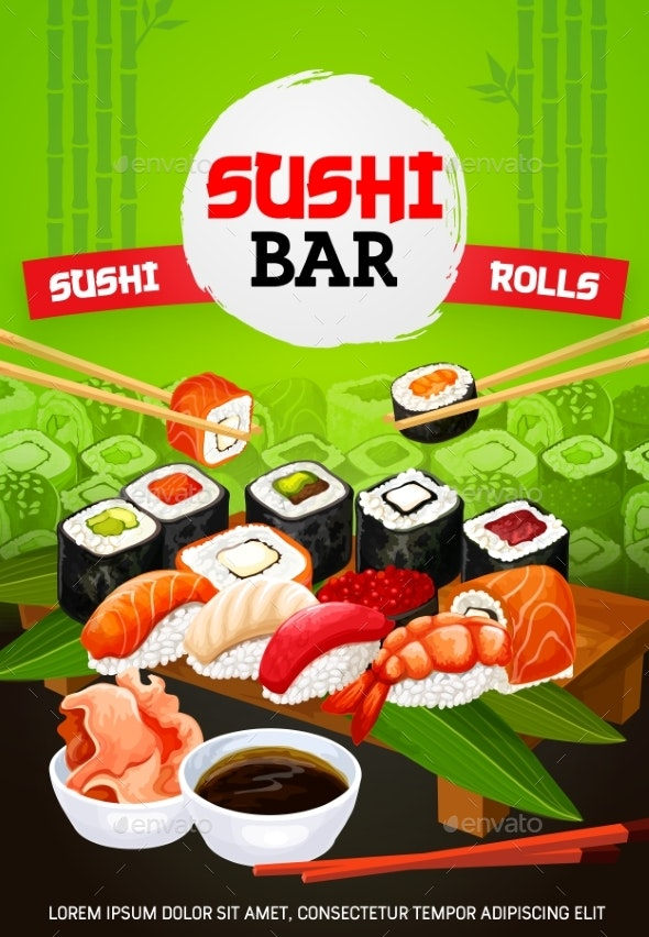 Asian Sushi Bar and Japanese Seafood Menu - Food Objects