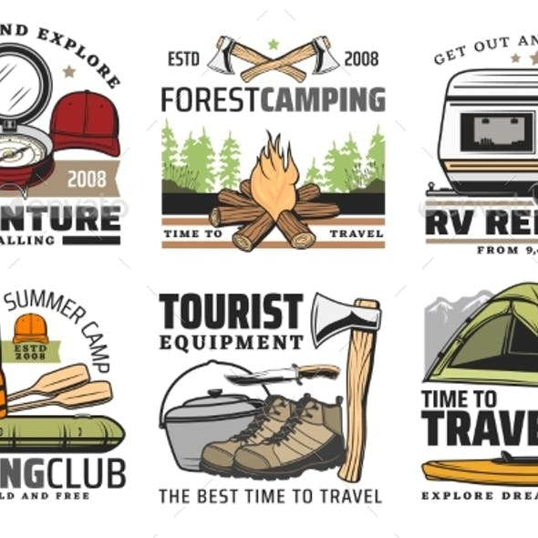 Rafting Forest Camping and Hiking Travel Icons