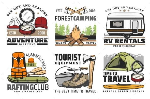 Rafting Forest Camping and Hiking Travel Icons - Sports/Activity Conceptual