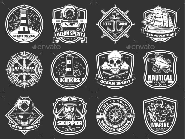 Marine Adventure Ocean Spirit Nautical Icons - Decorative Symbols Decorative