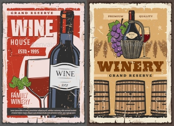Wine House Barrel and Winery Grand Reserve Drinks - Food Objects