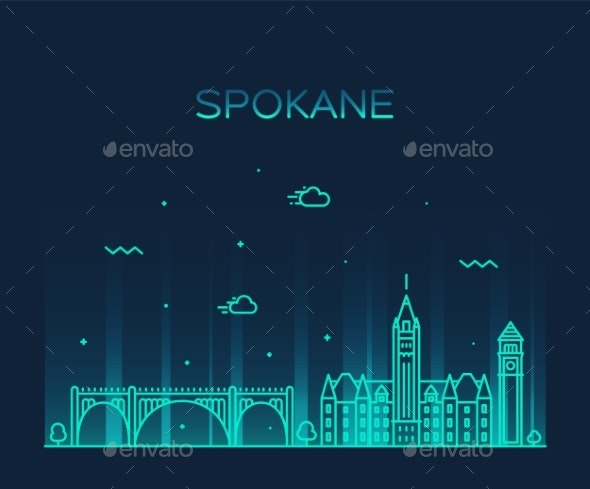 Spokane Skyline Washington USA Vector Linear Style - Buildings Objects