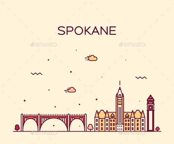 Spokane Skyline Washington USA Vector Linear Style - Buildings Objects