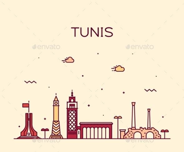 Tunis Skyline Tunisia Trendy Vector Linear Style - Buildings Objects