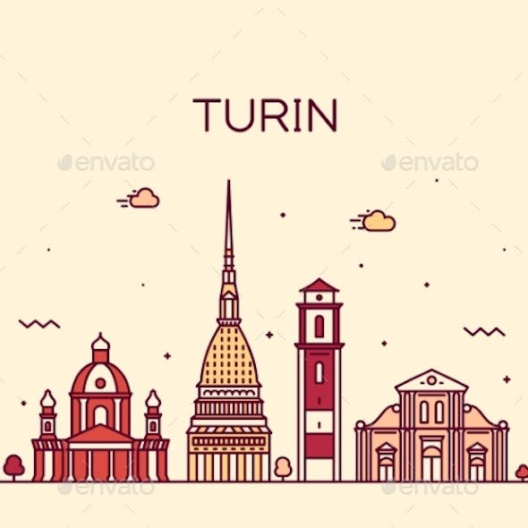 Turin Skyline Northern Italy Trendy Vector Style