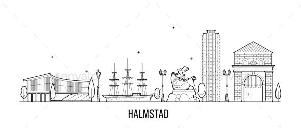 Halmstad Skyline Halland Swedish Vector Line Art - Buildings Objects
