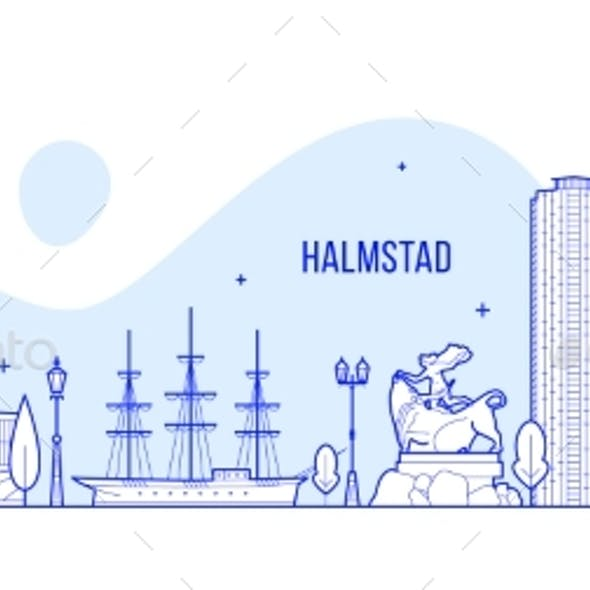Halmstad Skyline Halland Swedish Vector Line Art