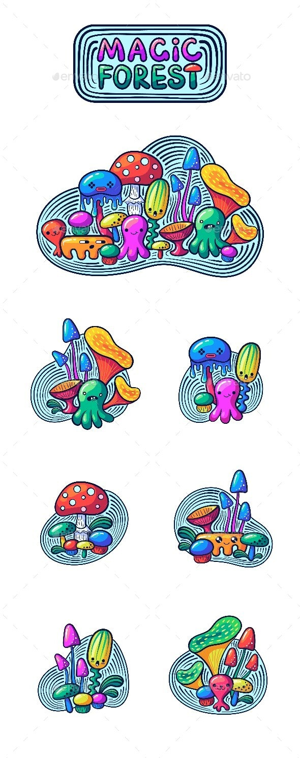 Kawaii Mushrooms and Monsters Set in Doodle Style - Miscellaneous Characters