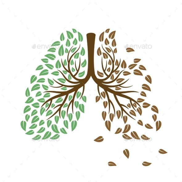 Healthy and Unhealthy Lungs Concept
