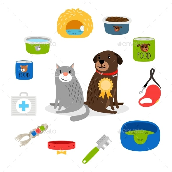 Cat and Dog Items - Animals Characters
