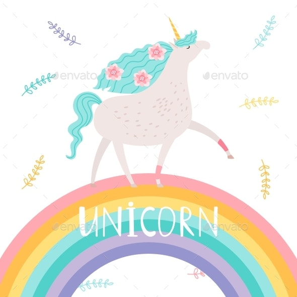 Unicorn with Flowers and Rainbow - Animals Characters