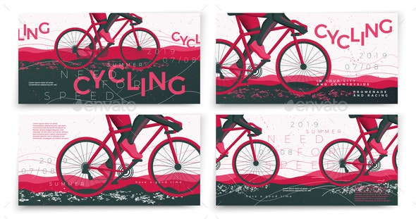 Vector Bicycle Banners - Sports/Activity Conceptual